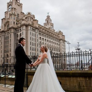 wedding photograph at liver building liverpool