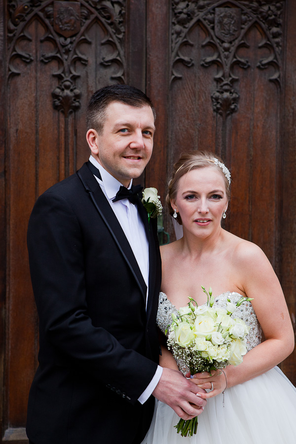 bride and groom at liverpool parish church