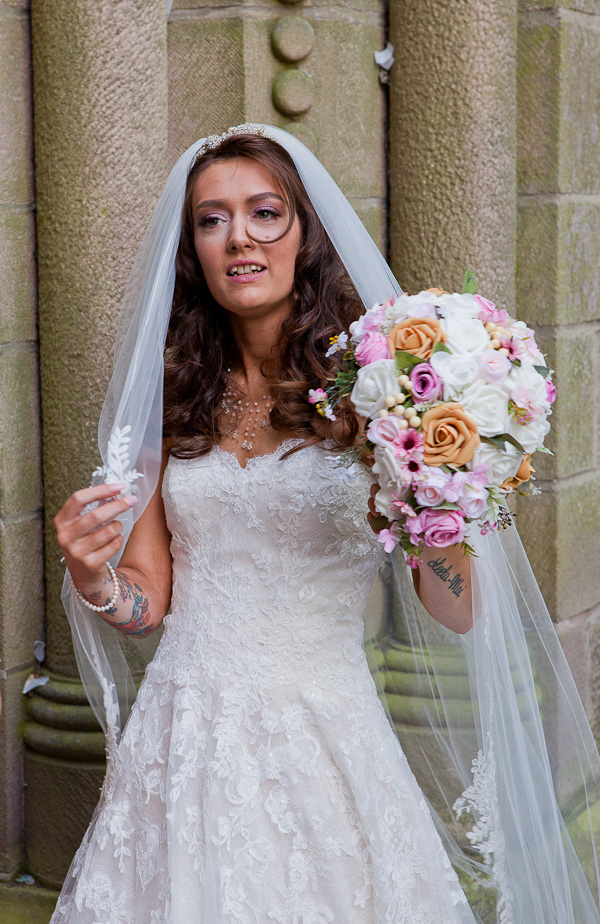 bride at church wedding manchester