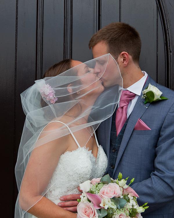 bride and groom at wedding preston
