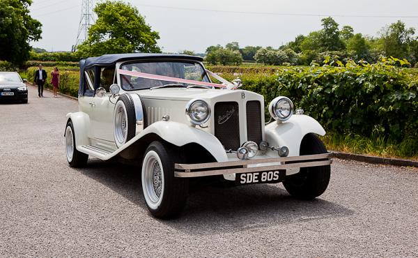 wedding car at lund parish church