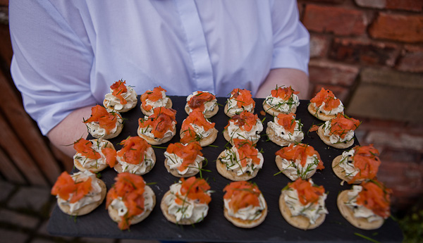 wedding canapes at charnock farm lancashire