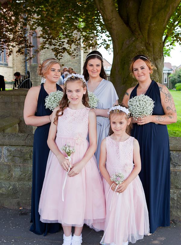 bridesmaids at saint aiden church preston